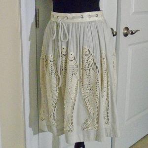 ANTHROPOLOGIE * FLOREAT Skirts - ANTHROPOLOGIE Cloudfish Crochet Full Skirt 0-2